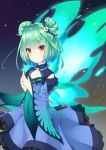 1girl 223_(pixiv332210012) absurdres animal_print aura bangs bare_shoulders black_background blue_dress blush brooch butterfly_print butterfly_wings closed_mouth detached_sleeves double_bun dress feet_out_of_frame flat_chest green_hair hair_ornament highres hololive jewelry looking_at_viewer red_eyes short_hair skull_collar skull_hair_ornament smile solo uruha_rushia virtual_youtuber wide_sleeves wings