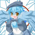 1girl :d apron bangs blue_hair blue_wings blush borrowed_character brown_eyes commentary_request eyebrows_visible_through_hair feathered_wings grey_headwear grey_sweater hair_between_eyes harpy hat kanijiru long_hair long_sleeves monster_girl open_mouth original personification ribbed_sweater smile solo sweater tail_feathers thick_eyebrows turtleneck turtleneck_sweater upper_body white_apron winged_arms wings world_of_tanks