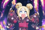 1girl :d abigail_williams_(fate/grand_order) afterimage bangs black_bow blonde_hair blue_eyes blush bow commentary_request crossed_bandaids double_bun eyebrows_visible_through_hair fate/grand_order fate_(series) fireworks floral_print hair_bow heart heart_in_mouth highres japanese_clothes kimono long_hair long_sleeves neon-tetora obi open_mouth orange_bow parted_bangs print_kimono purple_kimono sash sidelocks sleeves_past_wrists smile solo upper_body wide_sleeves