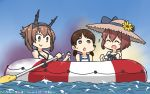 3girls bikini blue_sky blue_swimsuit breasts brown_hair closed_eyes clouds commentary_request dated day dress green_eyes hairband hamu_koutarou hat headgear highres inflatable_raft kantai_collection large_breasts low_twintails multiple_girls mutsu_(kantai_collection) name_tag oar open_mouth outdoors radio_antenna round_teeth school_swimsuit shirayuki_(kantai_collection) short_hair short_twintails sky straw_hat sun_hat sundress swimsuit teeth twintails upper_teeth water white_bikini white_dress yukikaze_(kantai_collection)