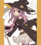 1girl bangs bare_shoulders black_cape black_headwear black_shirt black_sleeves blush bow boyano cape crop_top detached_sleeves eyebrows_visible_through_hair ghost grey_skirt hat holding long_hair long_sleeves looking_at_viewer looking_to_the_side magia_record:_mahou_shoujo_madoka_magica_gaiden mahou_shoujo_madoka_magica midriff misono_karin open_mouth parted_bangs pink_bow print_skirt purple_hair red_eyes shirt skirt solo standing standing_on_one_leg star star_print striped striped_legwear thigh-highs two_side_up witch_hat
