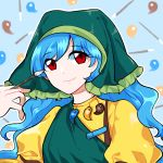 blue_hair eyebrows_visible_through_hair eyes_visible_through_hair haniyasushin_keiki headdress highres mindoll paintbrush red_eyes smile touhou wily_beast_and_weakest_creature