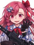 1girl :d bangs black_gloves black_shirt blush bow braid collared_shirt commentary crazy_smile eyebrows_visible_through_hair girls_frontline gloves gun hair_between_eyes hair_bow hair_ornament hairclip hands_up hexagram holding holding_gun holding_weapon imi_negev ivan_wang jacket long_hair looking_at_viewer negev_(girls_frontline) object_namesake one_side_up open_mouth pink_hair red_bow red_eyes shirt side_braid simple_background single_braid smile solo star_of_david upper_body weapon white_background white_jacket