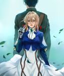 1boy 1girl back-to-back bangs black_hair blonde_hair blue_eyes blue_jacket blush brooch closed_mouth crying crying_with_eyes_open dress falling_leaves gilbert_bougainvillea green_background hair_between_eyes hair_intakes hair_ribbon highres jacket jewelry jyundee leaf long_hair long_sleeves mechanical_arms mechanical_hand mechanical_hands military military_uniform prosthesis prosthetic_arm prosthetic_hand red_ribbon ribbon short_hair sidelocks skirt standing tears uniform violet_evergarden violet_evergarden_(character) white_dress white_neckwear white_skirt