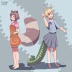 2girls absurdres animal_ears breasts dated dragon_tail futatsuiwa_mamizou highres horns kitcho_yachie multiple_girls pleated_skirt raccoon_ears raccoon_tail rosenmann short_hair skirt small_breasts smile spoilers tail touhou v wily_beast_and_weakest_creature