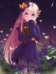 1girl abigail_williams_(fate/grand_order) absurdres bangs black_bow black_dress black_headwear blonde_hair blue_eyes blush bow bug butterfly closed_mouth crescent_moon dress fate/grand_order fate_(series) field flower flower_field forehead hat highres holding holding_stuffed_animal insect long_hair long_sleeves looking_at_viewer moon night night_sky orange_bow parted_bangs re-leaf ribbed_dress rose sky sleeves_past_fingers sleeves_past_wrists smile solo star_(sky) starry_sky stuffed_animal stuffed_toy teddy_bear white_bloomers