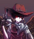 1girl black_hair black_wings cigarette cowboy_hat fingerless_gloves fringe_trim gloves glowing glowing_eyes gun handgun hat kurokoma_saki red_eyes revolver scarf simple_background smoking solo spoilers sunyup touhou trigger_discipline weapon wily_beast_and_weakest_creature wings