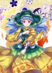 1girl :d blue_hair dress haniyasushin_keiki hichou highres jewelry long_hair looking_at_viewer necklace open_mouth puffy_sleeves smile solo spoilers touhou tsurime upper_teeth violet_eyes wily_beast_and_weakest_creature