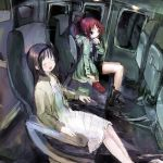 2girls 86thunder akemi_homura black_hair boots closed_eyes dress food headband interior jacket kinoko_no_yama long_hair mahou_shoujo_madoka_magica multiple_girls pocky ponytail red_eyes redhead sakura_kyouko shorts smile train_interior white_dress
