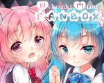 2girls :d animal_ear_fluff animal_ears bangs black_dress blue_bow blue_eyes blue_hair blurry blurry_background blush bow cat_ears closed_mouth collared_shirt commentary_request depth_of_field dress eyebrows_visible_through_hair fang fang_out fingernails hair_between_eyes highres holding_hands interlocked_fingers long_hair mirai_(happy-floral) multiple_girls open_mouth original pink_hair red_bow shirt sleeveless sleeveless_dress smile twintails upper_body violet_eyes white_shirt