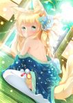1girl animal_ear_fluff animal_ears azur_lane bangs bare_back bare_shoulders blonde_hair blue_eyes blush commentary_request day dutch_angle eyebrows_visible_through_hair flower from_behind green_eyes hair_flower hair_ornament highres indoors japanese_clothes kaoru-coro kimono long_hair looking_at_viewer multicolored multicolored_eyes niizuki_(azur_lane) off_shoulder shouji shoulder_blades sidelocks sitting sliding_doors solo sunlight tail tatami thick_eyebrows thigh-highs wariza white_legwear