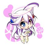 1girl animal_ear_fluff animal_ears bangs blue_eyes blush bombergirl buruma cat_ears chibi commentary_request eyebrows_visible_through_hair hair_between_eyes hair_ornament halo hands_together heterochromia long_hair open_mouth papuru_(bombergirl) peta_(taleslove596) purple_hair red_eyes shirt short_sleeves simple_background solo sportswear very_long_hair white_shirt