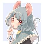 1girl animal_ears bangs black_vest blue_background blush border capelet commentary_request eyebrows_visible_through_hair grey_capelet grey_hair hand_up head_tilt jewelry long_sleeves looking_at_viewer mokokiyo_(asaddr) mouse_ears mouse_tail nazrin open_mouth outline outside_border pendant red_eyes shirt short_hair simple_background solo tail touhou upper_body vest white_border white_outline white_shirt