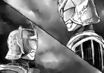 2boys archer armor belt dual_persona emiya_shirou fate/stay_night fate/unlimited_blade_works fate_(series) food fruit greyscale helmet holding kamen_rider kamen_rider_gaim kamen_rider_gaim_(kiwami_arms) kamen_rider_gaim_(series) lock_seed male_focus mask monochrome multiple_boys orange parody solo sword tokusatsu unlimited_blade_works weapon yusuki_(fukumen)