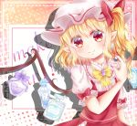 1girl argyle argyle_background blonde_hair bottle bow bowtie cosmetics dot_nose earrings english_text eyebrows_visible_through_hair flandre_scarlet hair_between_eyes hat highres jar jewelry juliet_sleeves long_sleeves looking_at_viewer makeup mimi89819132 mob_cap multicolored multicolored_background nail_polish perfume_(cosmetics) perfume_bottle pointy_ears polka_dot polka_dot_background puffy_short_sleeves puffy_sleeves red_eyes red_nails short_hair short_sleeves side_ponytail sleeve_ribbon smile touhou wings yellow_neckwear