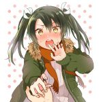 1boy 1girl :o admiral_(kantai_collection) alternate_costume anbutter_siruko blush fur-trimmed_jacket fur_trim green_hair green_jacket hair_between_eyes hair_ribbon holding_hands jacket jewelry kantai_collection orange_scarf ribbed_sweater ribbon ring scarf solo_focus sweater twintails upper_body wedding_band white_ribbon zuikaku_(kantai_collection)