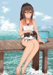 1girl absurdres animal animal_on_lap artist_name barefoot brown_eyes brown_hair bucket cat cat_on_lap dated full_body hair_between_eyes hair_ornament hairclip highres i-401_(kantai_collection) kantai_collection long_hair looking_at_viewer numarinko pier ponytail sailor_collar school_swimsuit sitting smile swimsuit swimsuit_under_clothes tan thighs twitter_username