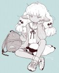 1girl ahoge animal_ears bored bow cardigan cellphone crossed_ankles fluffy hair_bow hand_on_own_cheek hug hug_from_behind long_hair monochrome phone sheep sheep_ears sheep_girl shoes sitting skirt sneakers socks solo stuffed_animal stuffed_toy terayamaden