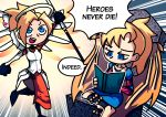 2girls absurdres barefoot blonde_hair blue_eyes book collarbone crossover english_text fall-from-grace highres jewelry mechanical_halo mechanical_wings mercy_(overwatch) multiple_girls necklace open_mouth overwatch planescape:_torment ponytail setz shin_guards staff wings