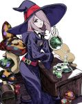 1girl beaker belt black_neckwear bottle collar desk erlenmeyer_flask flask hair_over_one_eye hat holding holding_bottle hood hood_down little_witch_academia long_hair luna_nova_school_uniform mushroom nobita open_mouth pale_skin pink_hair potion red_belt red_eyes school_uniform simple_background solo sucy_manbavaran treasure_chest white_background white_collar wide_sleeves witch witch_hat
