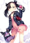 1girl aqua_eyes bag black_hair black_jacket black_nails breasts choker closed_mouth collarbone dress earrings hand_up holding holding_poke_ball jacket jewelry long_hair long_sleeves looking_at_viewer mary_(pokemon) morpeko nail_polish open_clothes open_jacket pink_dress poke_ball poke_ball_(generic) pokemon pokemon_(creature) pokemon_(game) pokemon_swsh pout shoulder_bag small_breasts stud_earrings thighs twintails yan_(nicknikg)