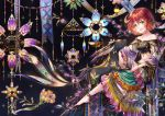 1girl animal animal_ears bare_shoulders barefoot black_background blue_nails crescent crescent_hair_ornament dress fantasy flower gold_trim green_eyes hair_ornament highres long_sleeves looking_at_viewer midriff navel original parted_lips redhead sho_(sumika) short_hair sitting solo