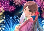 1girl blush breasts brown earrings eyebrows_visible_through_hair fan fan_la_norne fireworks flower hair hair_flower hair_ornament japanese_clothes jewelry kimono long_hair looking_at_viewer misu_kasumi night small_breasts smile solo xenoblade_(series) xenoblade_2 yellow_eyes yukata