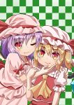 2girls arm_around_back arms_up blonde_hair blouse checkered checkered_background commentary_request cravat eyebrows_visible_through_hair eyes_visible_through_hair fang fang_out flandre_scarlet frilled_shirt_collar frills green_background hair_between_eyes hand_on_another's_arm hand_on_another's_face hand_on_another's_shoulder hat hat_ribbon highres looking_at_viewer mob_cap multiple_girls one_eye_closed pink_blouse pink_headwear pink_skirt puffy_short_sleeves puffy_sleeves purple_hair red_eyes red_skirt red_vest remilia_scarlet ribbon sash shirt short_hair short_sleeves siblings side_ponytail sisters skirt slit_pupils smile sugiyama_ichirou touhou upper_body vest white_headwear white_shirt wings yellow_neckwear