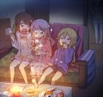 4girls :o ;d bangs barefoot blonde_hair bloomers blush boyano breasts brown_eyes brown_hair burning candle candlelight character_request chips chopsticks closed_eyes couch cup_noodle drawstring dress eating eyebrows_visible_through_hair fire food food_on_face hair_between_eyes hand_on_another's_shoulder holding holding_chopsticks holding_food hood hood_down hooded_jacket ice_cream indoors jacket long_hair long_sleeves magia_record:_mahou_shoujo_madoka_magica_gaiden mahou_shoujo_madoka_magica medium_breasts multiple_girls on_couch one_eye_closed onigiri open_clothes open_jacket open_mouth parted_lips pink_dress pocky potato_chips purple_jacket purple_shorts red_eyes rice rice_on_face short_shorts shorts sitting smile sparkle standing table twintails underwear very_long_hair white_bloomers white_shorts wooden_floor