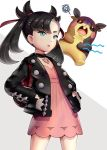 1girl aqua_eyes bag black_hair black_jacket choker dress gonzarez hair_ribbon hands_in_pockets highres jacket long_sleeves low_twintails mary_(pokemon) morpeko pink_dress pokemon pokemon_(game) pokemon_swsh ribbon standing twintails