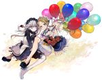 2girls abigail_williams_(fate/grand_order) bags_under_eyes balloon bangs black_bloomers black_dress black_footwear black_shirt blonde_hair bloomers blue_eyes blush bow braid butterfly_hair_ornament closed_mouth commentary_request dress fate/grand_order fate_(series) hair_bow hair_ornament heroic_spirit_festival_outfit horn lavinia_whateley_(fate/grand_order) long_hair long_sleeves looking_at_viewer matching_outfit multiple_girls nozaki_tsubata parted_bangs red_bow shirt shoes sidelocks sleeveless sleeveless_dress sleeves_past_fingers sleeves_past_wrists smile stuffed_animal stuffed_toy teddy_bear underwear very_long_hair white_bloomers white_dress white_footwear white_hair white_shirt