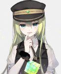 1girl alina_gray bangs black_headwear black_vest boyano collared_shirt cube eyebrows_visible_through_hair finger_to_mouth glowing green_eyes green_hair grey_background hair_between_eyes hand_up hat long_hair looking_at_viewer magia_record:_mahou_shoujo_madoka_magica_gaiden mahou_shoujo_madoka_magica parted_lips peaked_cap puffy_short_sleeves puffy_sleeves shirt short_sleeves simple_background smile solo upper_body very_long_hair vest white_shirt