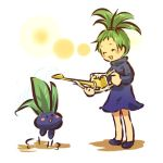1girl ^_^ blush_stickers closed_eyes crossover dress green_hair hitec jump jumping moemon oddish open_mouth personification pokemon pokemon_(creature) pokemon_(game) pokemon_rgby rozen_maiden simple_background smile standing turtleneck watering_can