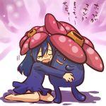 1girl closed_eyes hat hitec massachusetts moemon personification pokemon pokemon_(creature) pokemon_(game) pokemon_rgby simple_background sitting tears translation_request turtleneck vileplume