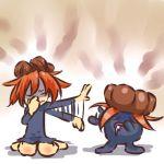 1girl barefoot closed_eyes gloom hat hitec kneeling moemon orange_hair personification pokemon pokemon_(creature) pokemon_(game) pokemon_rgby saliva sexual_dimorphism short_hair simple_background smell