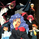 baund_doc blue_eyes camille_bidan four_murasame green_eyes gundam haman_karn highres kamille_bidan kitazume_hiroyuki mecha mineva_lao_zabi old_school oldschool open_mouth orange_hair pilot_suit pink_hair purple_hair rosamia_badam space sunglasses tears zeta_gundam