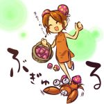 ^_^ bare_shoulders basket blush_stickers brown_hair bun_cover china_dress chinadress chinese_clothes closed_eyes double_bun double_buns food_as_clothes freckles hitec laugh laughing moemon mushroom nintendo open_mouth paras personification pokemon pokemon_(game) pokemon_rgby simple_background sleeveless smile trample translated translation_request turtleneck