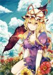 1girl blonde_hair blue_sky breasts cleavage clouds collarbone dress elbow_gloves flower gap gloves hair_ribbon hat hat_ribbon kaio_(watagami) large_breasts long_hair looking_at_viewer puffy_sleeves purple_dress red_eyes ribbon short_sleeves sitting sky solo touhou tress_ribbon very_long_hair white_gloves yakumo_yukari