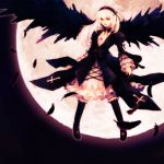 dress feathers hironox long_hair moon rozen_maiden suigintou white_hair wings