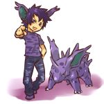 blush_stickers costume fang hand_on_hip hitec male moemon nidorino nintendo personification pointing pokemon pokemon_(game) pokemon_rgby purple_eyes purple_hair short_hair simple_background standing
