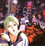 city fire four_murasame glow glowing green_hair gundam highres hong_kong kitazume_hiroyuki lipstick mecha old_school oldschool psyco_gundam purple_lipstick short_hair tears zeta_gundam