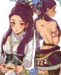 1girl absurdres ass back braid breasts dark_skin facial_mark fire_emblem fire_emblem:_three_houses highres long_hair looking_at_viewer medium_breasts ormille petra_mcnairy purple_hair school_uniform side_ponytail single_braid skirt smile solo tea tribal uniform