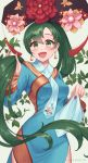 1girl absurdres alternate_costume artist_name asymmetrical_bangs awan0918 bangs blue_dress bracelet breasts chinese_clothes cute dress earrings eyebrows_visible_through_hair fire_emblem fire_emblem:_rekka_no_ken fire_emblem:_the_blazing_blade fire_emblem_blazing_sword floral_print flower green_eyes green_hair grey_background hand_in_hair handkerchief hat highres intelligent_systems jewelry leaf long_hair long_sleeves looking_at_viewer lyn_(fire_emblem) lyndis_(fire_emblem) medium_breasts moe nintendo open_mouth parted_bangs parted_lips plant ponytail red_nails side_slit simple_background smile solo super_smash_bros. tassel very_long_hair