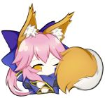 1girl animal_ear_fluff animal_ears blue_kimono fate/extella fate/extra fate/extra_ccc fate/grand_order fate_(series) fox_ears fox_girl fox_tail japanese_clothes kimono long_hair looking_at_viewer lying nepsuka_(hachisuka) on_side one_eye_closed pink_hair simple_background solo tail tamamo_(fate)_(all) tamamo_no_mae_(fate) white_background yellow_eyes