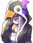 1girl :q absurdres animal_costume animal_hood bra_strap collarbone fate/extra fate/extra_ccc fate/grand_order fate_(series) geroinu hair_ribbon highres hood hood_up huge_filesize long_hair meltryllis oversized_clothes parka penguin_costume purple_hair ribbon simple_background sleeves_past_wrists solo sunglasses tongue tongue_out upper_body violet_eyes white_background