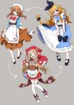 3girls ;d animal_ears animal_hood apron bangs black_bow black_footwear black_ribbon blonde_hair blue_dress blue_eyes blue_flower blush bobby_socks boots bow braid brown_gloves brown_hair brown_skirt capelet collared_shirt commentary_request cosplay costume_switch cross-laced_footwear directional_arrow dress eyebrows_visible_through_hair fake_animal_ears flower frilled_apron frilled_dress frills gloves green_eyes grey_background hair_between_eyes hair_bow hair_flower hair_ornament hair_ribbon hood hood_up hooded_capelet lace-up_boots long_hair mononobe_alice mononobe_alice_(cosplay) multiple_girls nijisanji one_eye_closed open_mouth orange_hair otogibara_era otogibara_era_(cosplay) paw_gloves paws pleated_skirt puffy_short_sleeves puffy_sleeves red_bow red_capelet red_footwear red_skirt ribbon shirt shoes short_sleeves simple_background skirt smile socks thigh-highs twin_braids underbust very_long_hair virtual_youtuber waist_apron warabeda_meijii warabeda_meijii_(cosplay) white_apron white_flower white_headwear white_legwear white_shirt yamabukiiro