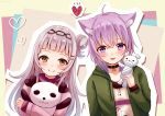 2girls alternate_costume animal_ears blush casual cat_ears collar collarbone commentary_request hair_between_eyes hair_bun hair_ornament hairclip heart hololive jacket lavender_hair long_hair looking_at_viewer multiple_girls murasaki_shion nekomata_okayu purple_hair sakura_hiyori short_hair smile stuffed_animal stuffed_toy upper_body violet_eyes virtual_youtuber yellow_eyes