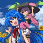 2girls :d bangs barefoot black_headwear black_sash blue_hair blue_sky blush bow bowtie carrying_over_shoulder center_frills clouds commentary_request day eyebrows_visible_through_hair field flower flower_field food fruit hair_between_eyes hat hat_removed head_tilt headwear_removed highres hinanawi_tenshi japanese_clothes kimono leaf long_hair long_sleeves looking_at_another looking_up multiple_girls obi open_mouth outdoors peach petals petticoat puffy_short_sleeves puffy_sleeves purple_hair purple_kimono red_bow red_eyes red_neckwear sash shirt shope short_hair short_sleeves sidelocks sky smile sukuna_shinmyoumaru sunflower touhou upper_body white_shirt wide_sleeves