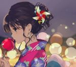 1girl bangs blurry blurry_background brown_hair candy_apple earrings eyebrows_visible_through_hair eyes_visible_through_hair festival food from_side gin_(oyoyo) grey_eyes hair_ornament holding holding_food japanese_clothes jewelry kimono light_particles looking_to_the_side original pinwheel pinwheel_hair_ornament ponytail portrait short_ponytail sidelocks twitter_username watermark wavy_hair yukata