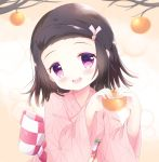 1girl :d bangs blush bow brown_hair checkered checkered_bow commentary english_commentary fingernails food forehead hair_ribbon hands_up head_tilt highres holding holding_food japanese_clothes kamado_nezuko kimetsu_no_yaiba kimono kittipat_jituatakul long_sleeves obi open_mouth parted_bangs pink_kimono pink_nails pink_ribbon ribbon round_teeth sash smile solo teeth tree_branch upper_body upper_teeth violet_eyes wide_sleeves younger
